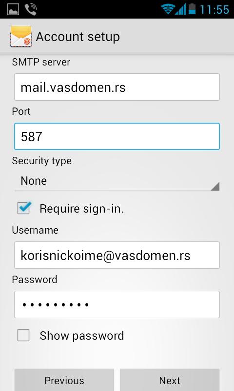 mail-podesavanja-android